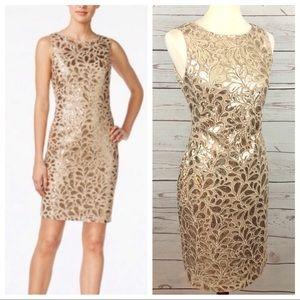 NWT Calvin Klein Gold Sequin Formal Sheath Dress